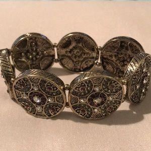 WHBM gold bracelet with clear and purple stones